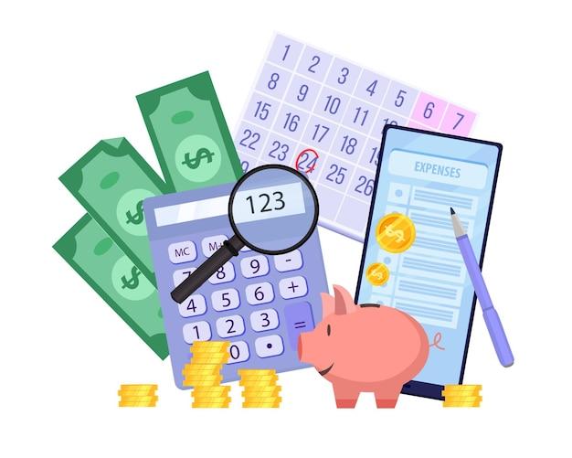 Illustrazione di finanza di pianificazione del bilancio familiare con salvadanaio