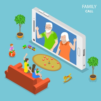 Concetto isometrico piano di chiamata della famiglia.
