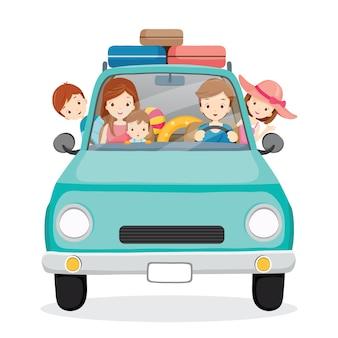 Famiglia sulla guida di auto per viaggiare, buone vacanze, attività familiari