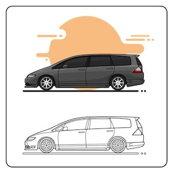 Vista laterale dell'auto grigia dell'auto di famiglia facilmente modificabile