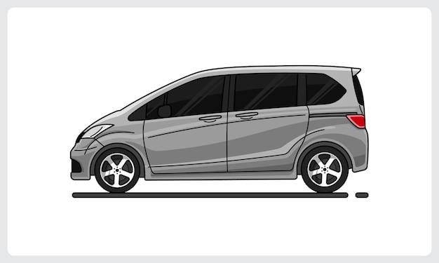 Vista laterale dell'auto d'argento dell'auto di famiglia facilmente modificabile