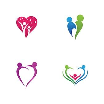 Vettore del modello di logo e simbolo di cura della famiglia