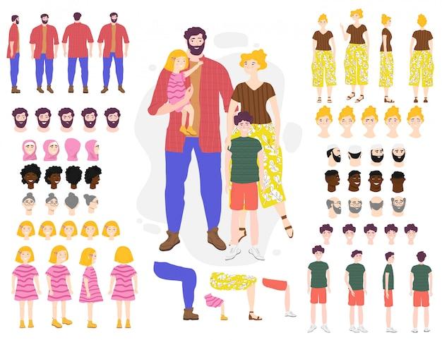 Illustrazione stabilita di vettore del costruttore dei personaggi dei cartoni animati della famiglia