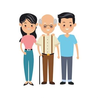 Concetto del fumetto della famiglia rappresentato dall'icona dei genitori e del nonno. illustrazione isolata e colorfull.