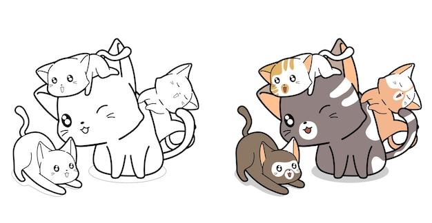 Pagina da colorare di cartoni animati gatti di famiglia per bambini