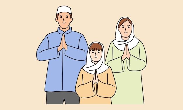 La famiglia celebra insieme eid al-adha eid mubarak