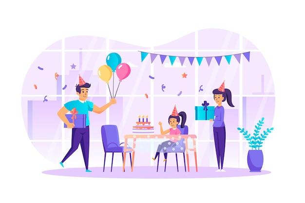 Famiglia che celebra il concetto di design piatto di compleanno con scena di personaggi di persone