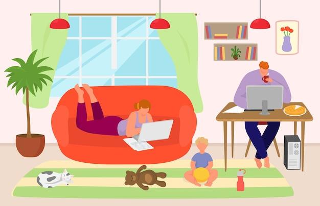 Il personaggio familiare lavora da casa con il laptop