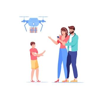 I personaggi della famiglia ricevono acquisti di ordini online dal drone di consegna