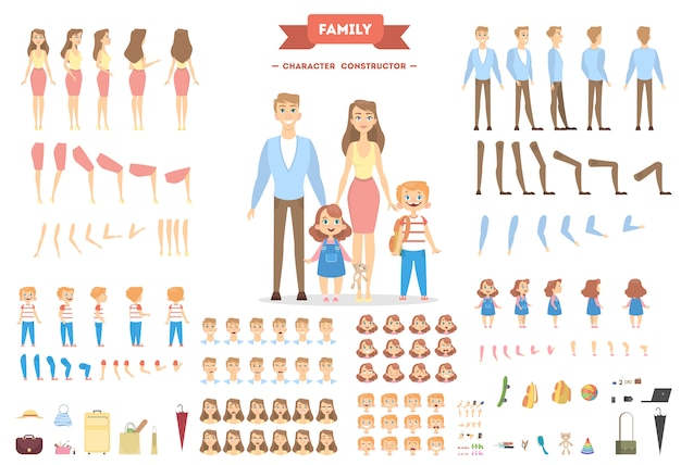 Set di caratteri familiari. genitori e figli con oggetti.