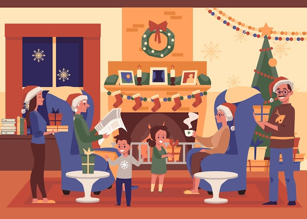 Natale in famiglia nell'interno accogliente del salotto - gente del fumetto che celebra le vacanze insieme a casa con regali e cappelli di babbo natale davanti al camino decorato