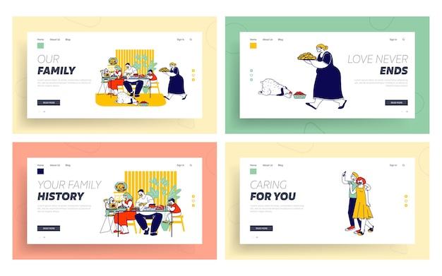 Set di pagine di destinazione del sito web di concetto di famiglia.