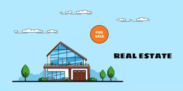 Casa familiare con alberi, immobiliare, industria edile