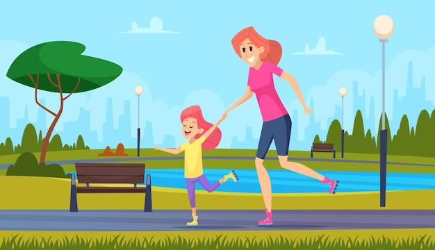 Coppia di famiglia. genitori felici che giocano con le illustrazioni del fumetto di vettore di buon tempo dei bambini dei bambini messe