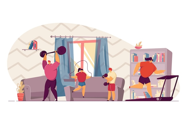 Coppia di famiglia e due bambini che fanno esercizi sportivi a casa