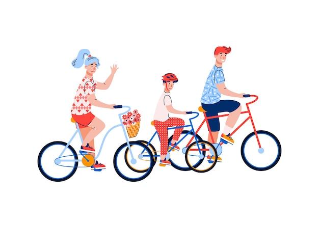 Coppia famiglia con bambino in sella a una bicicletta, cartone animato attività sportiva per la famiglia, ricreazione congiunta e stile di vita sano.
