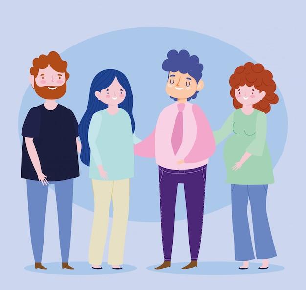 Famiglia coppie genitori donna incinta insieme personaggio dei cartoni animati
