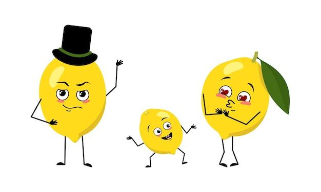 Famiglia di simpatici personaggi di limone con emozioni gioiose viso sorridente occhi felici braccia e gambe mamma è ha...