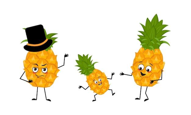 Famiglia di simpatici personaggi di ananas con emozioni gioiose sorriso viso occhi felici braccia e gambe mamma è ...