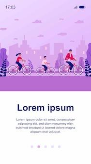 Famiglia in bicicletta nell'illustrazione del parco urbano