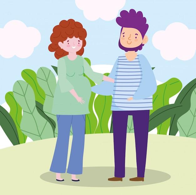 Papà di famiglia e donna incinta insieme personaggio dei cartoni animati