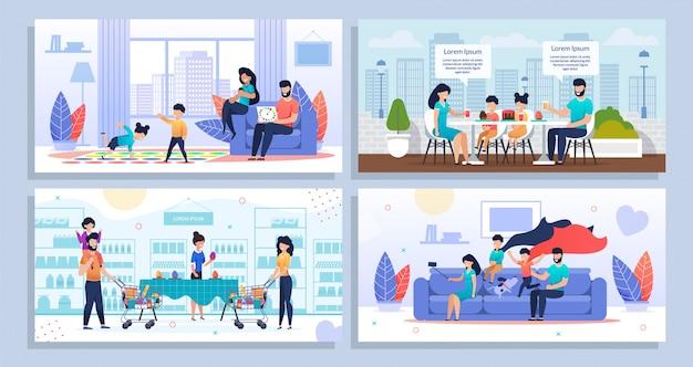 Attività domestiche quotidiane della famiglia e insieme di ricreazione Vettore Premium