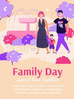 Cartellonistica per la giornata della famiglia con madre, padre e figlio in famiglia a piedi insieme nel parco