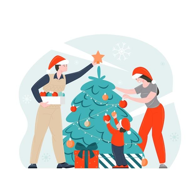 La famiglia decora l'albero di natale che celebra insieme l'illustrazione di natale