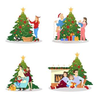 Famiglia che decora l'albero di natale per l'insieme di celebrazione. decorazione tradizionale per le feste. persone felici con regali. illustrazione in stile cartone animato