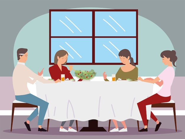 Cena in famiglia, papà, mamma e sua figlia due seduti a mangiare illustrazione