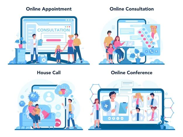 Servizio online o set di piattaforme per medico di famiglia e assistenza sanitaria generale.