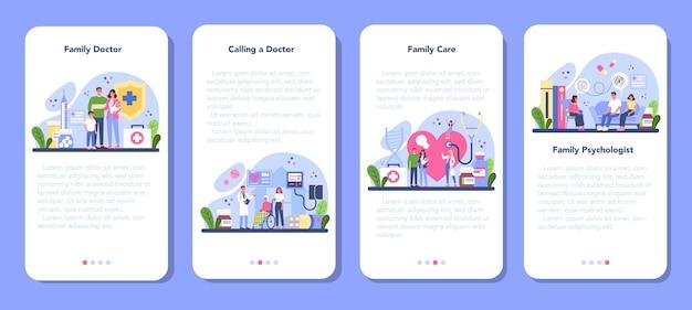 Insieme della bandiera di applicazione mobile medico di famiglia