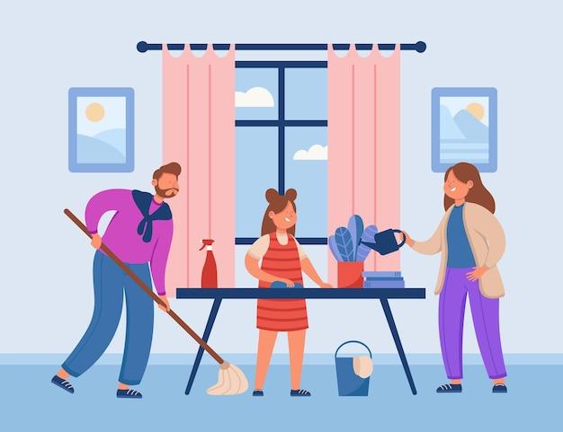 Illustrazione della famiglia che fa le faccende domestiche