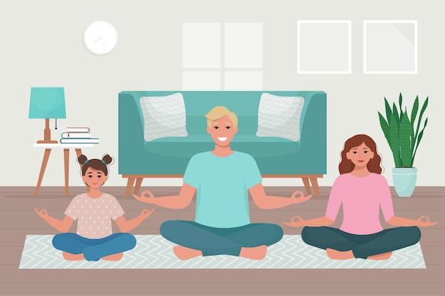 Famiglia che fa yoga insieme a casa. illustrazione carina in stile piatto