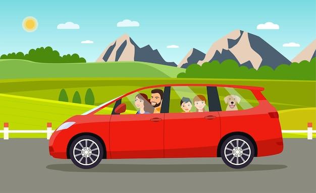 Famiglia che guida in auto minivan. illustrazione di stile piatto vettoriale
