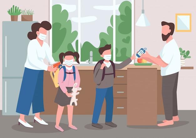 Famiglia durante la quarantena illustrazione a colori piatta. genitori e figli in maschera medica. mamma e papà aiutano i bambini prima di andare a scuola. personaggi dei cartoni animati 2d dei parenti con l'interno su fondo