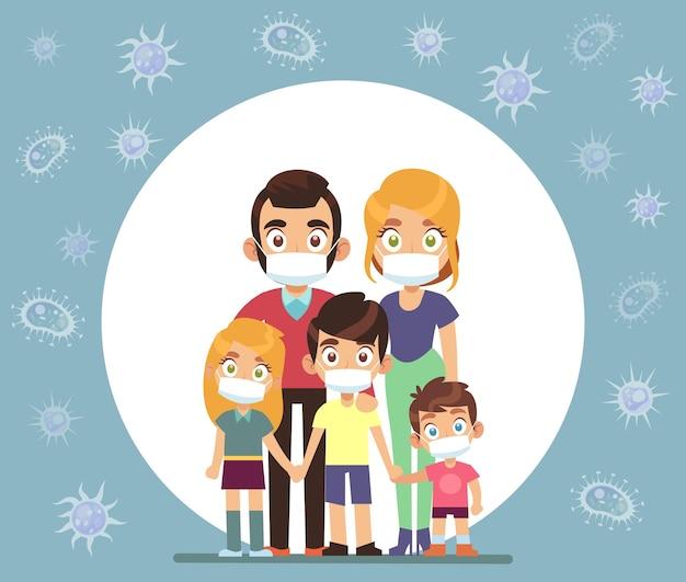Mascherine per la famiglia. genitori e bambini che indossano una maschera medica protettiva per prevenire il virus