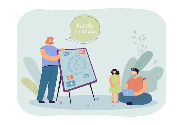 Illustrazione piana di lezione di finanze familiari