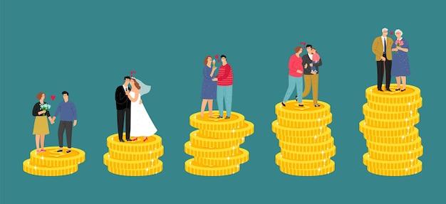 Crescita finanziaria della famiglia. risparmio di pensione, fondo di denaro. illustrazione vettoriale di successo degli investimenti