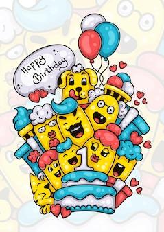 Famiglia e amici che augurano buon primo compleanno al bambino disegnato a mano doodle artwork