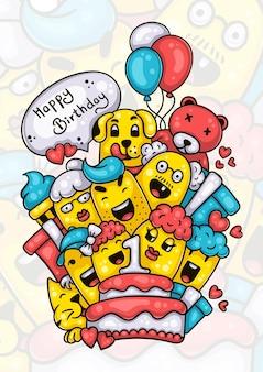 La famiglia e gli amici augurano buon primo compleanno alla bambina disegnata a mano doodle artwork