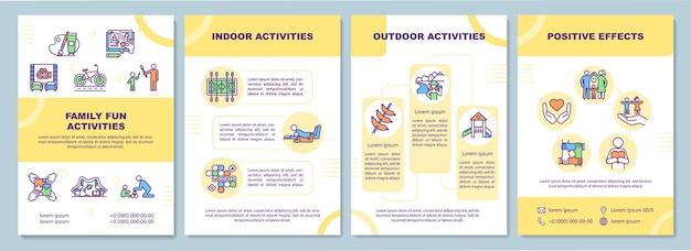 Modello di brochure di attività divertenti per la famiglia. genitori del tempo di relax. modello di volantino