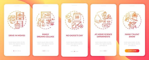 Idee divertenti per la famiglia durante l'inserimento nella schermata della pagina dell'app mobile con concetti. nessuna giornata di gadget per tutta la famiglia con istruzioni grafiche in 5 passaggi. modello di interfaccia utente con illustrazioni a colori rgb