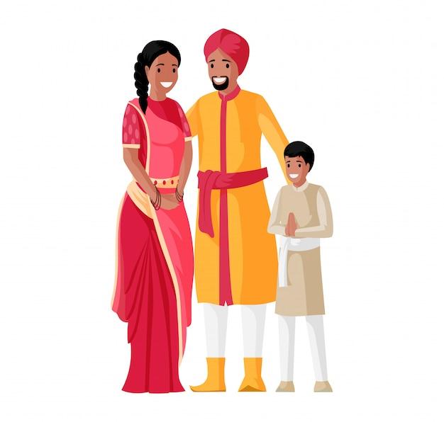 Generazioni familiari, madre, padre e figlio in abiti nazionali in piedi insieme.