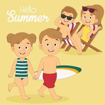 La famiglia va a viaggiare durante le vacanze estive