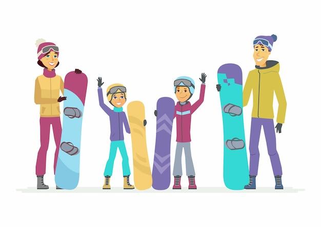 La famiglia va a fare snowboard - i personaggi dei cartoni animati hanno isolato l'illustrazione su sfondo bianco. giovani genitori felici con bambini sorridenti in attrezzature per la tenuta dell'attrezzatura. i bambini agitano le mani