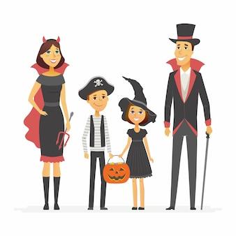 Famiglia alla festa di halloween - personaggi dei cartoni animati illustrazione isolato su priorità bassa bianca. i giovani genitori e i loro figli indossano costumi e tengono in mano un cesto di jack-o-lantern