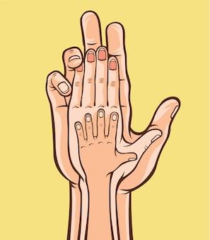 Illustrazione del concetto di arte della linea del braccio delle mani della famiglia