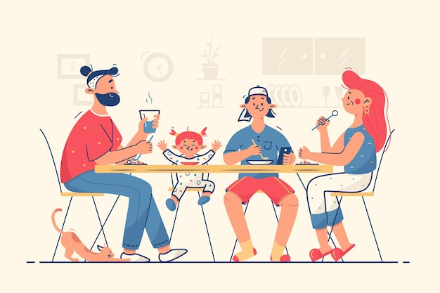 Famiglia cenando insieme