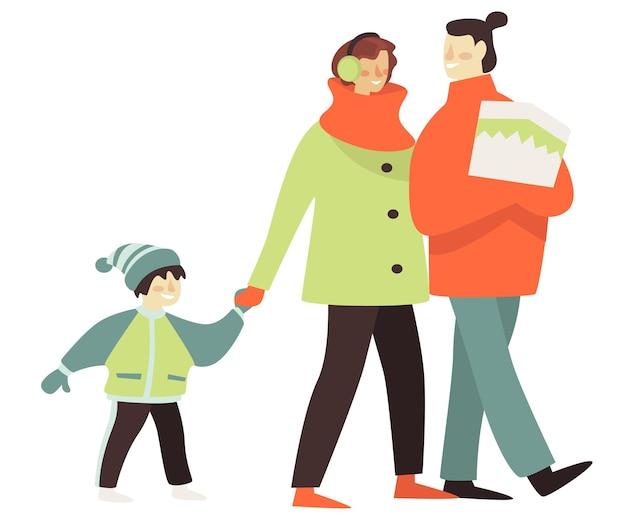 Famiglia che fa una passeggiata in inverno, madre e padre che camminano con un bambino che indossa abiti caldi. maschio e femmina innamorati di kiddo, genitori e figli che parlano all'aperto. ricreazione, vettore in stile piatto